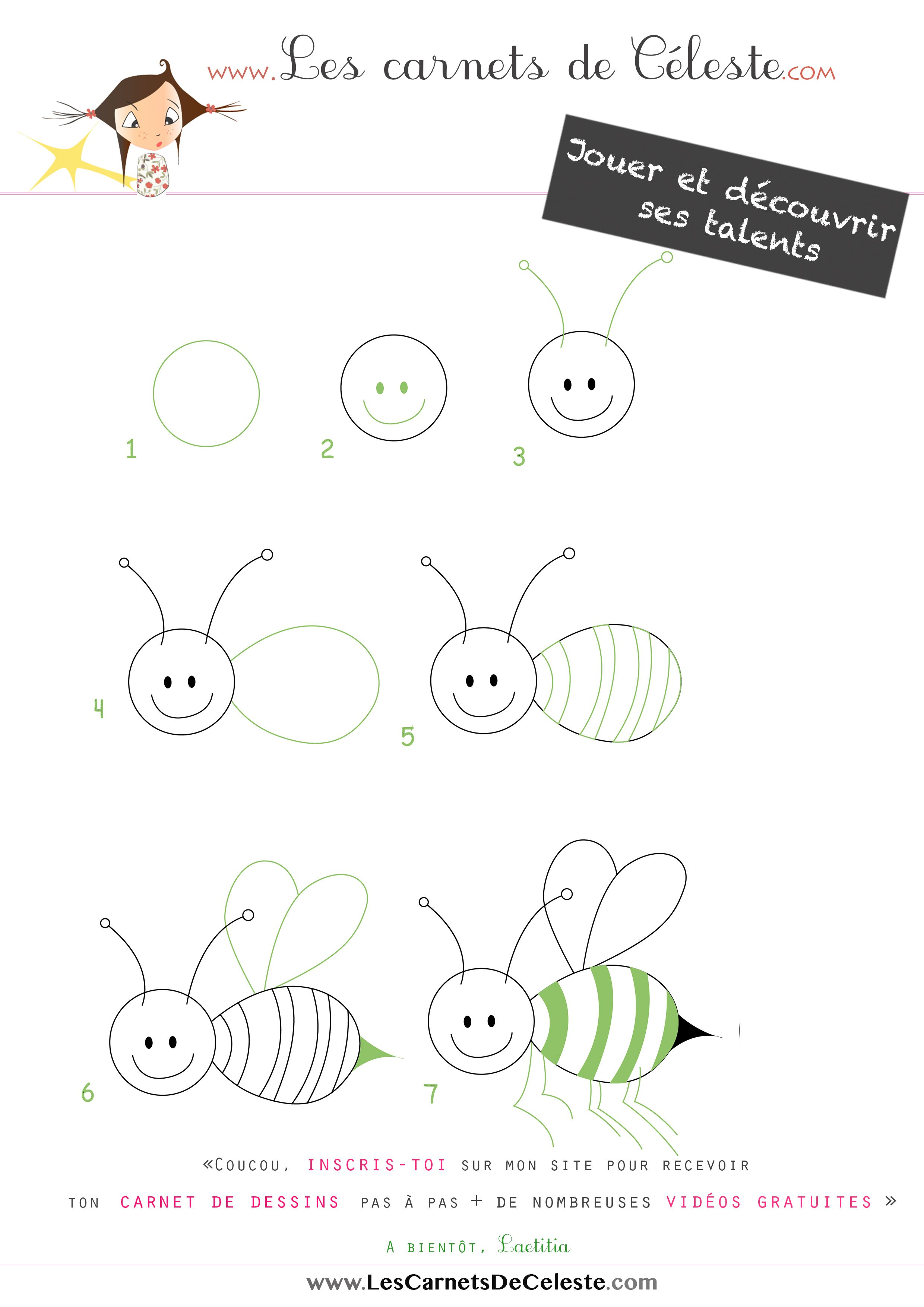 apprendre dessiner une abeille en quelques tapes dessin saya pinterest abeilles. Black Bedroom Furniture Sets. Home Design Ideas