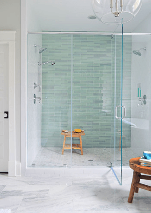 White Modern Bathroom With Mint Green Tile Accent Wall Sherwin Williams Kind Eucalyptus Seafoam