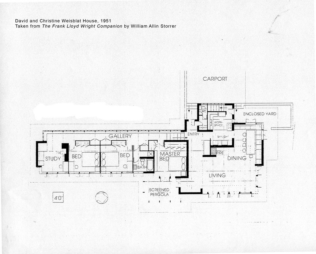 David And Christine Weisblat House Plan 1951 Frank Lloyd Wright Frank Lloyd Wright Frank Lloyd Wright Usonian Frank Lloyd Wright Architecture