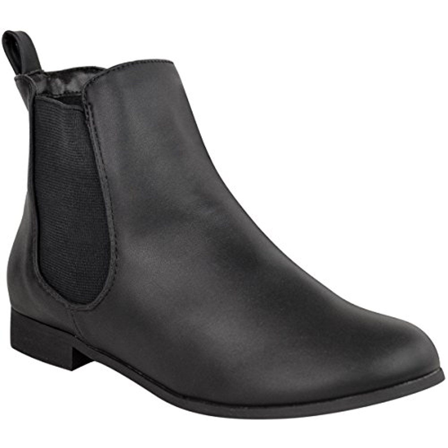 Womens Flat Low Heel Chelsea Ankle Boot Elastic Gusset Pull On Riding Heel  Boots  Be