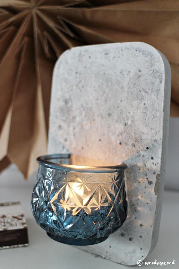 diy concrete wall mount candle holder diy craft projects. Black Bedroom Furniture Sets. Home Design Ideas
