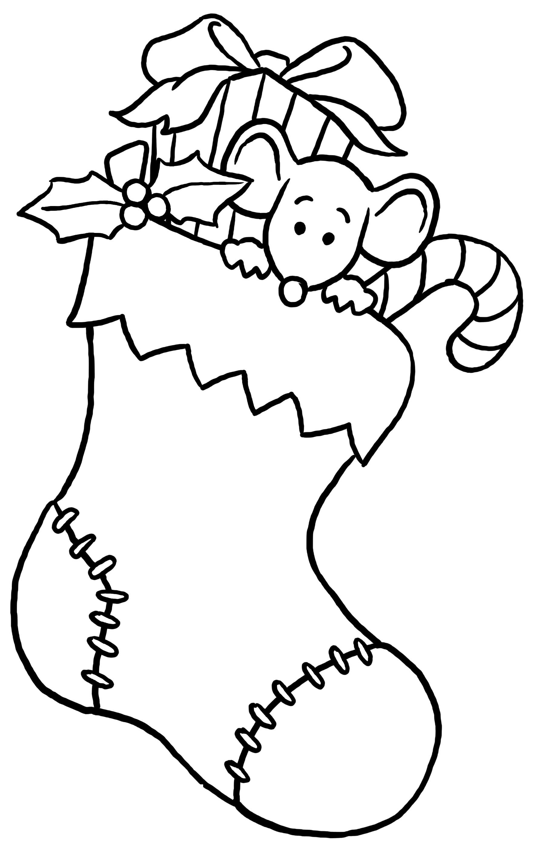 Mouse In The Christmas Stocking Coloring Pages For Kids 5n Printable Christmas Coloring Pages For Kids