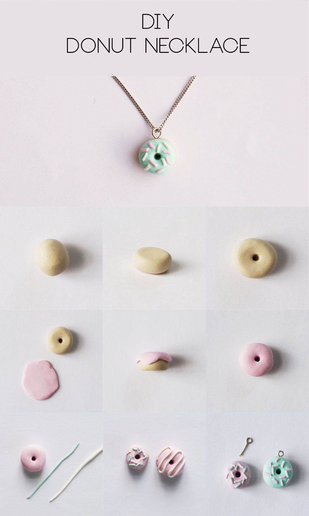 DIY Polymer Clay Donut Necklace Step-by-Step Tutorial