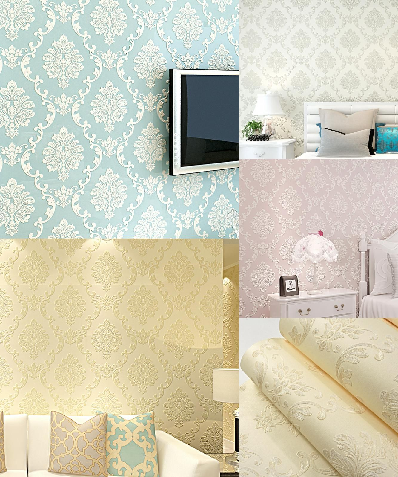 Visit to Buy] European Style 3D Embossed Floral Luxury Damask ...