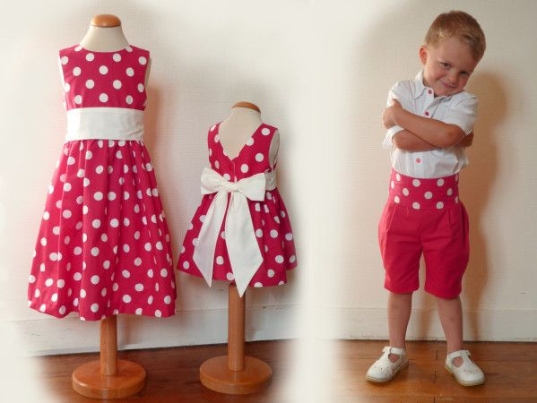 Robe fille rouge pois blanc
