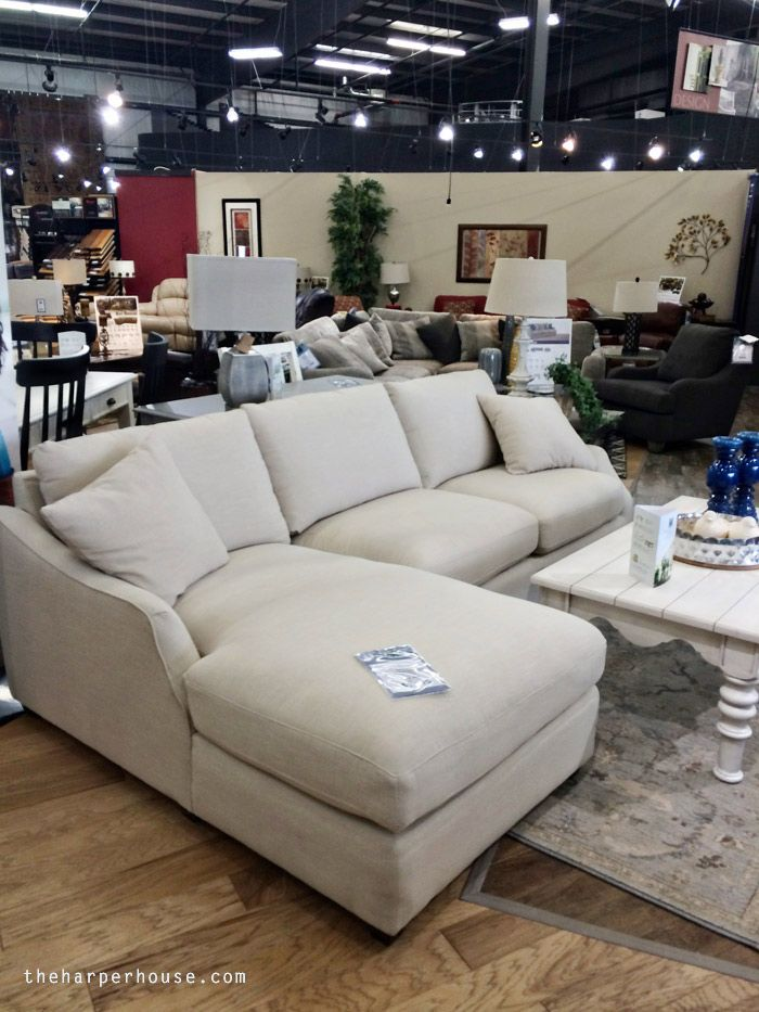 Magnolia Home Furniture   Real Life Opinions. Tufted gray sofa and Magnolia Home side table at Toms Price