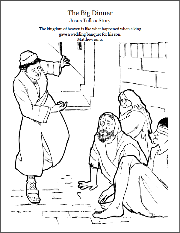 The Parable Of The Big Dinner Coloring Page Script And