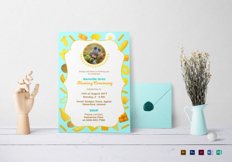 Creative Naming Ceremony Invitation Template  Rengaprasath