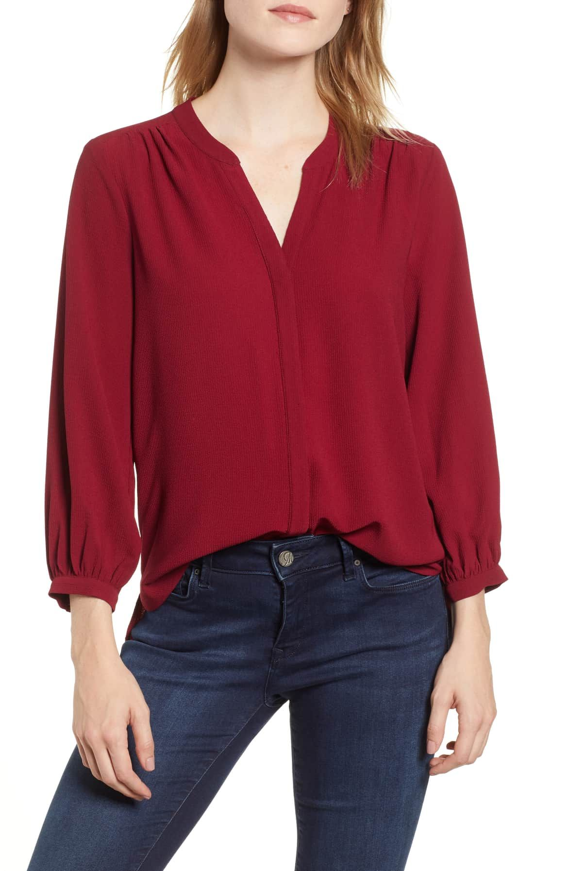 Back Pleat Blouse Main Color Wine Pleated Blouse Blouse Outfit Informal