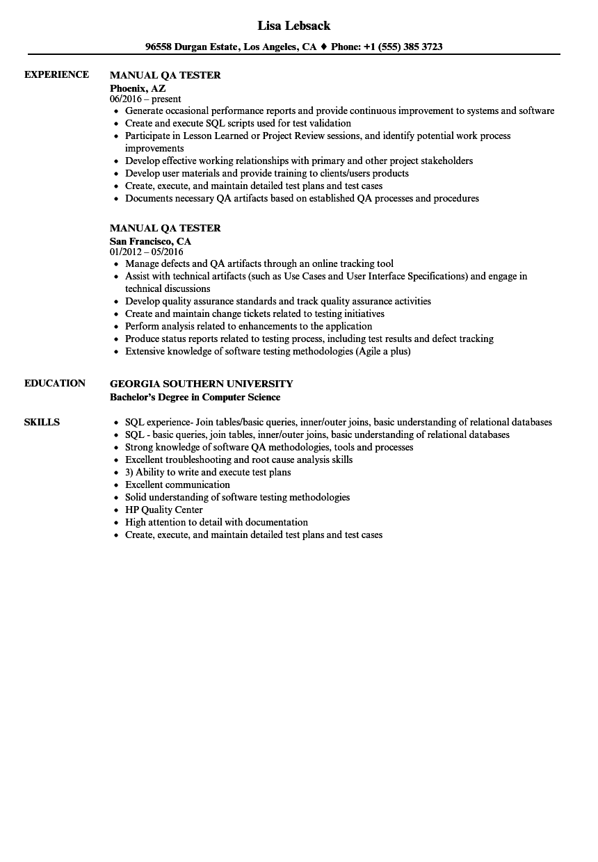 Manual Qa Tester Resume Samples And Examples Of Curated Bullet Points For Your Resume To Help You Get An Interv Job Resume Samples Engineering Lettering Resume