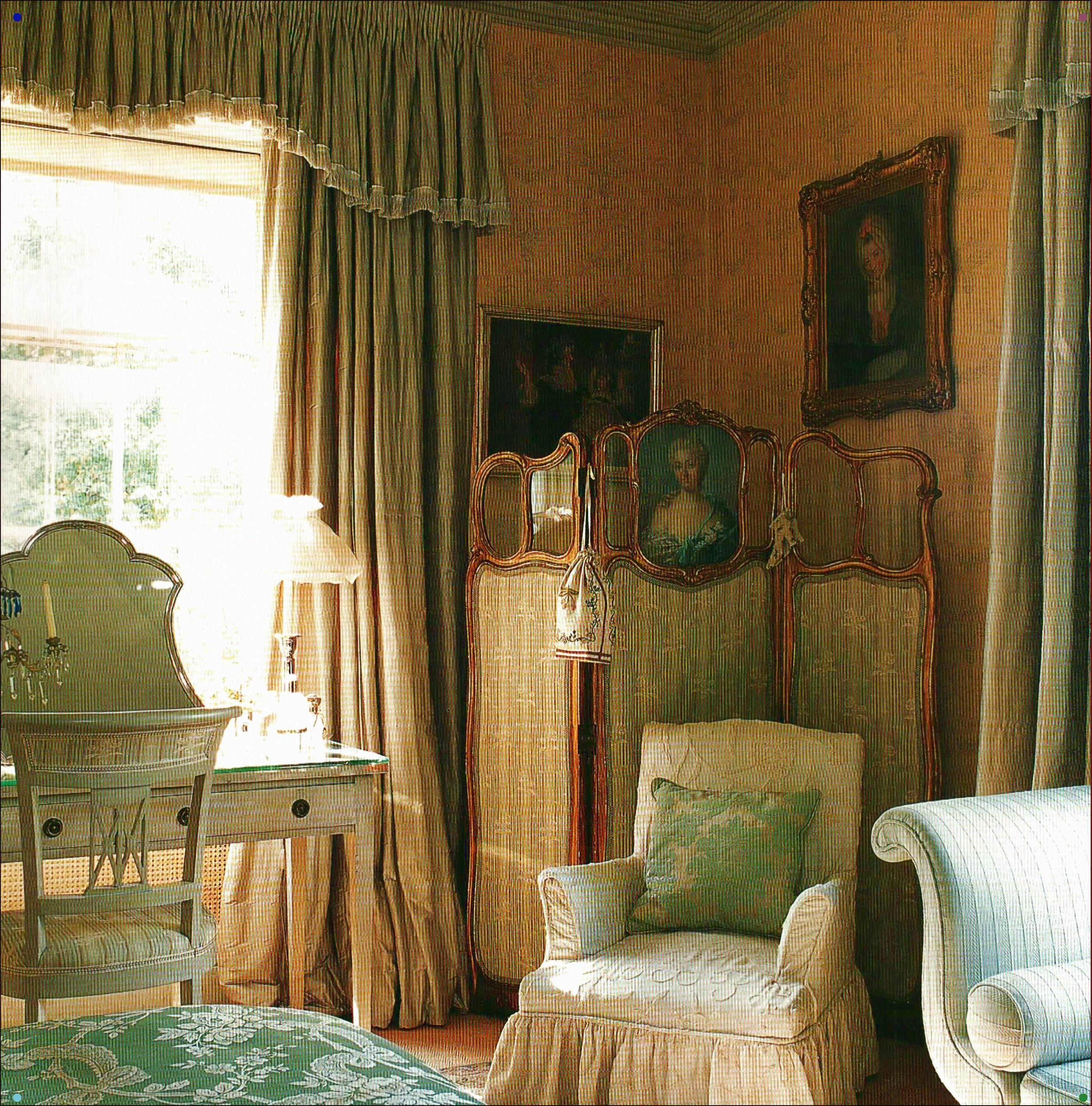 English Country Bedroom With Silk Curtains  English decor