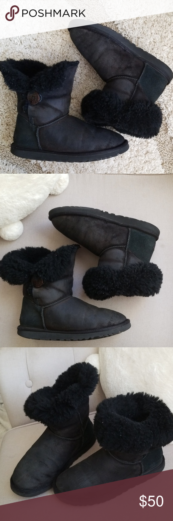 UGG boots size 6 girls 7.5 8 womens Preowned good condition black short uggs boots sheepskin size 6 in youth or 7.5 -8 women UGG Shoes Boots #uggbootsoutfitblackgirl