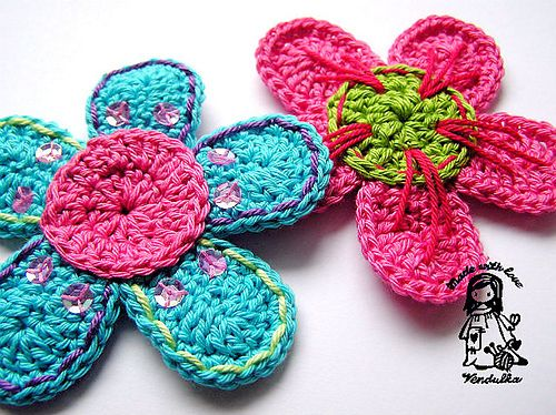 Flower On Ravelry Free Pattern Available In Both English And Czech