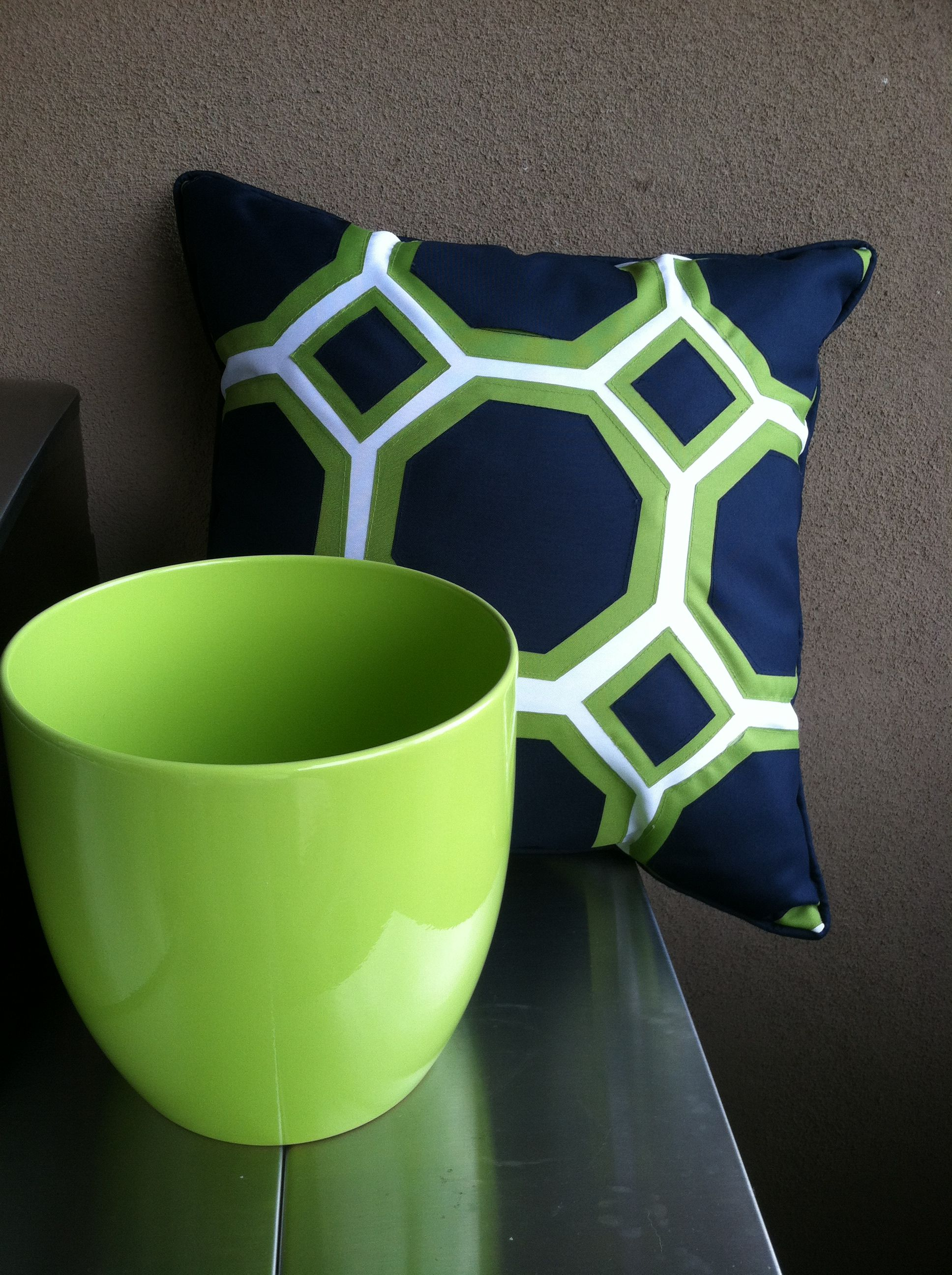 Outdoor patio pillow and pot. Lime Green & Navy Blue from Home Goods ...