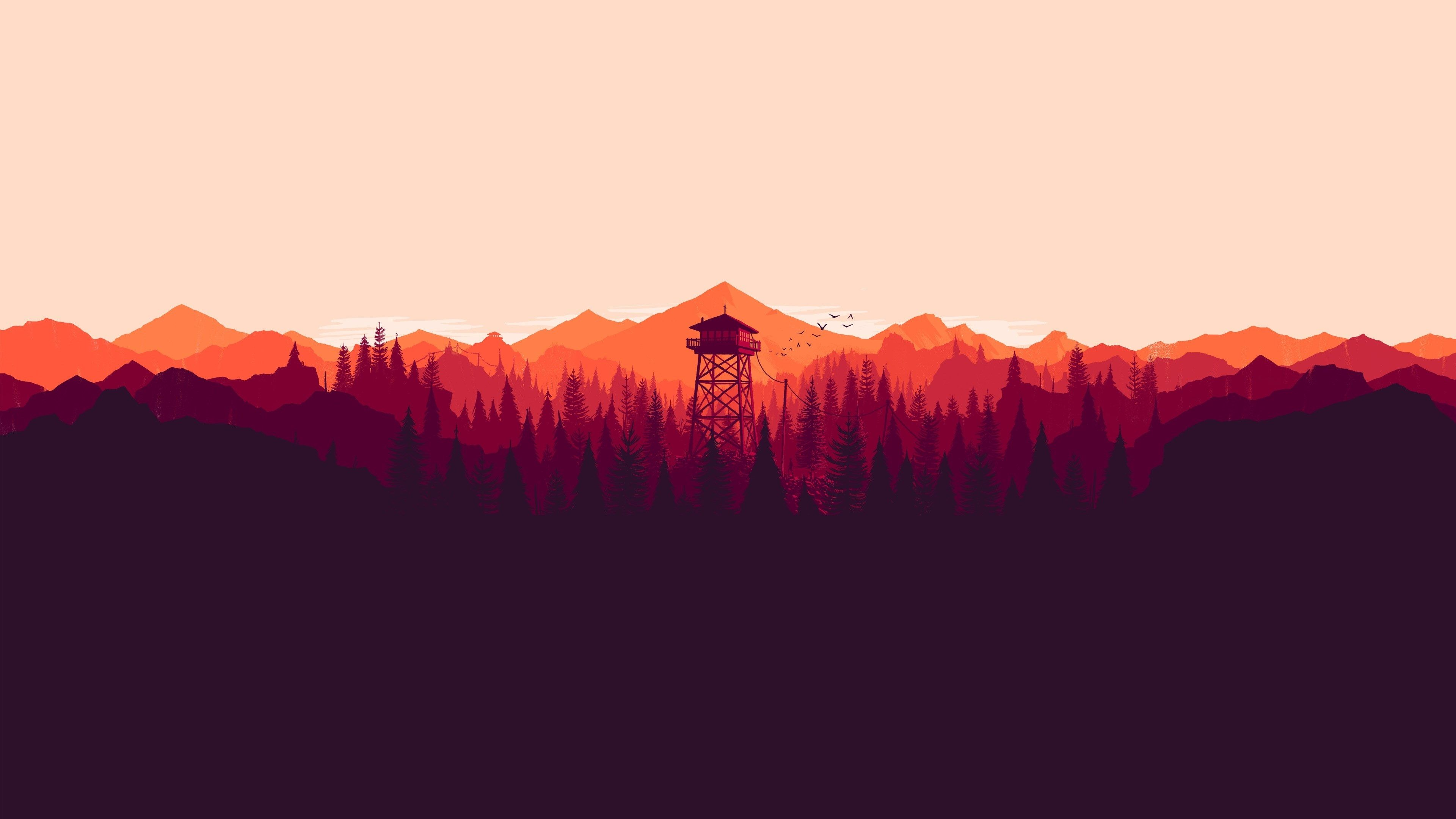 3840x2160 Firewatch 4k Free Download Beautiful Wallpaper For Desktop Firewatch Mountain Illustration Background Images Wallpapers