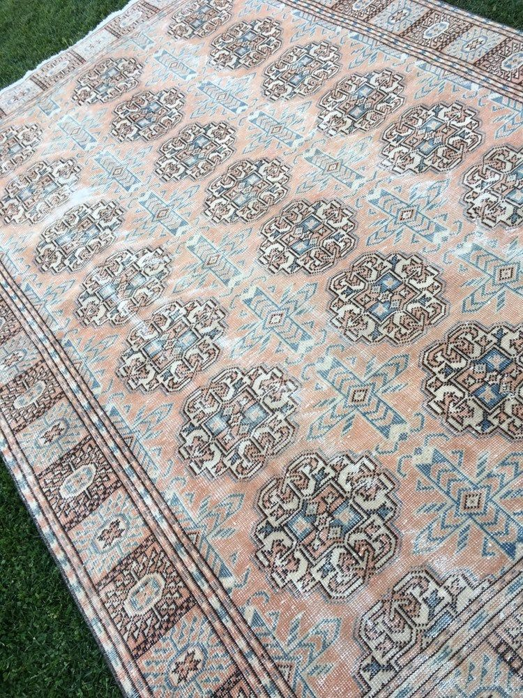 Country farmhouse decor vintage turkish rugwool low pile