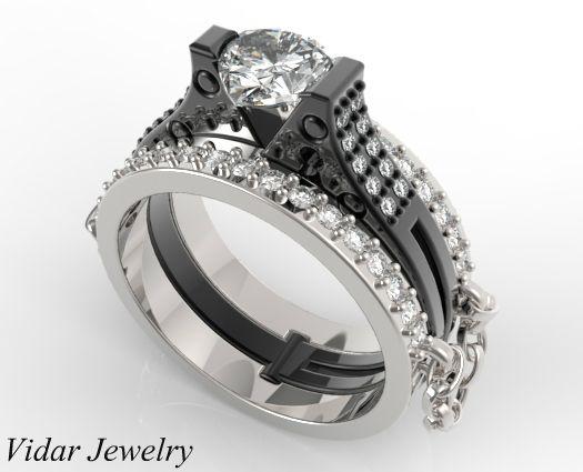 Charmant Unique Linked Chain Handcuff Wedding Ring Set For Women | Vidar .