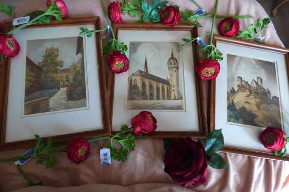 This listing is for a set of Three (3) ORIGINAL watercolor paintings along with their vintage frames. The set was purchased nearly 15 years ago