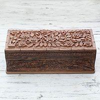 Walnut wood jewelry box, 'Kashmiri Extravaganza'