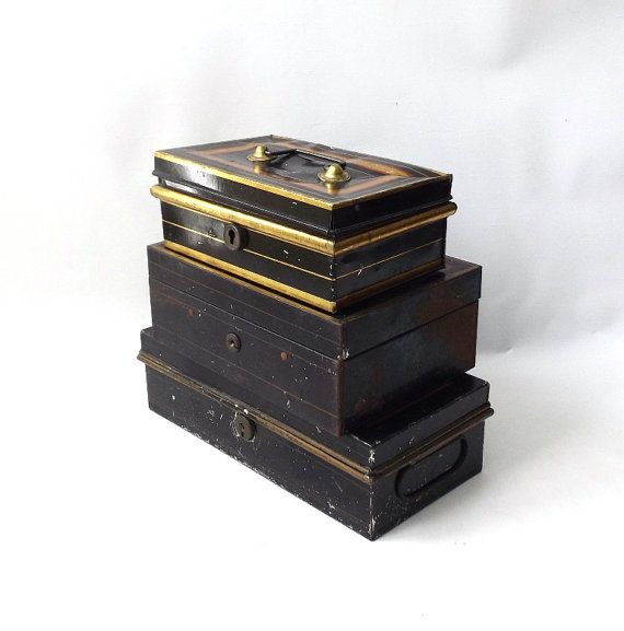 vintage 1930's set of 3 industrial metal boxes by RecycleBuyVintage