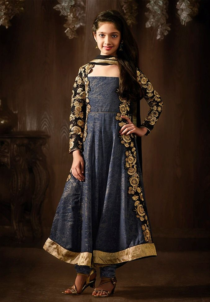 2136eb8ed83 Ravishing Blue Color Silk Designer Anarkali Style Dress Material for ...