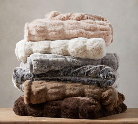 Faux Fur Ruched Throws In 2020 Pottery Barn Faux Fur