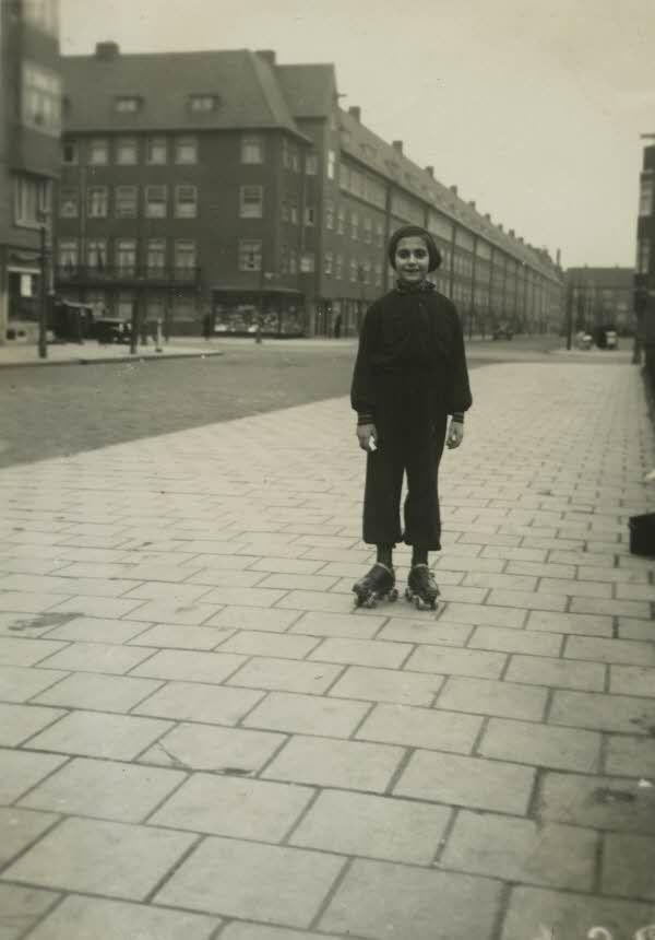 Margot Frank, older sister of Anne, skating near Merwedeplein, Amsterdam, 1934.