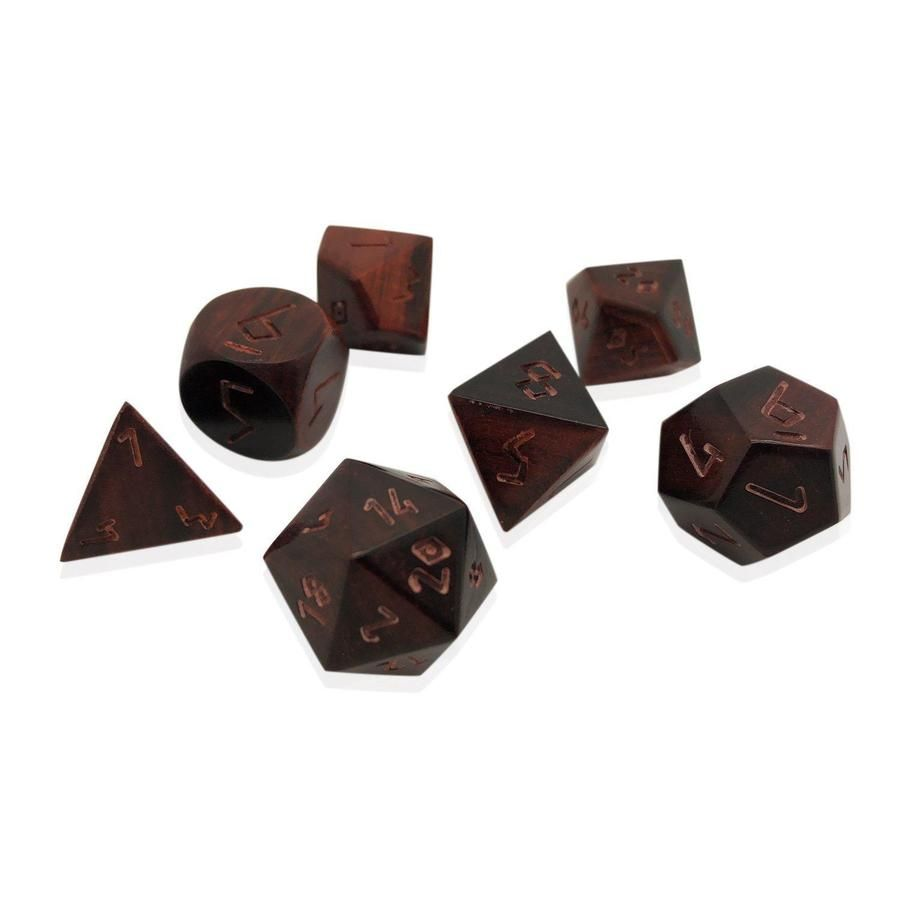 African Blackwood Rosewood 7 Piece Rpg Wooden Dice Set Dice Norse