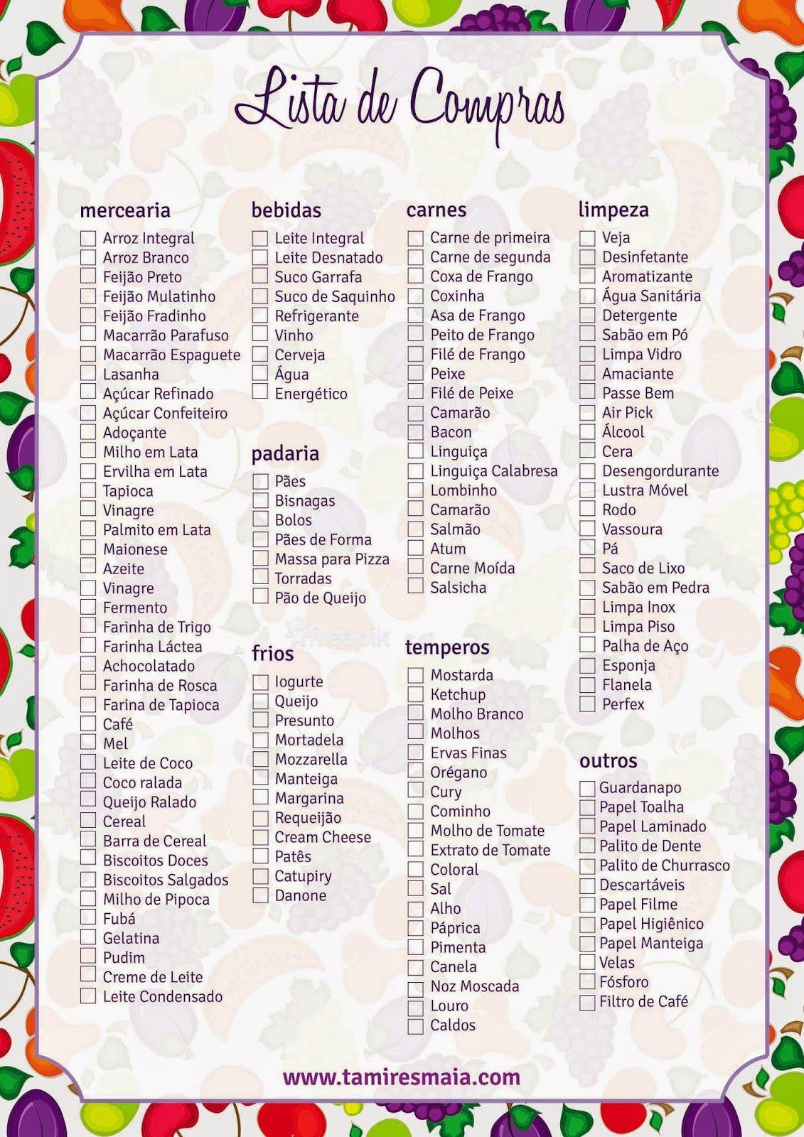 lista de compra de supermercado