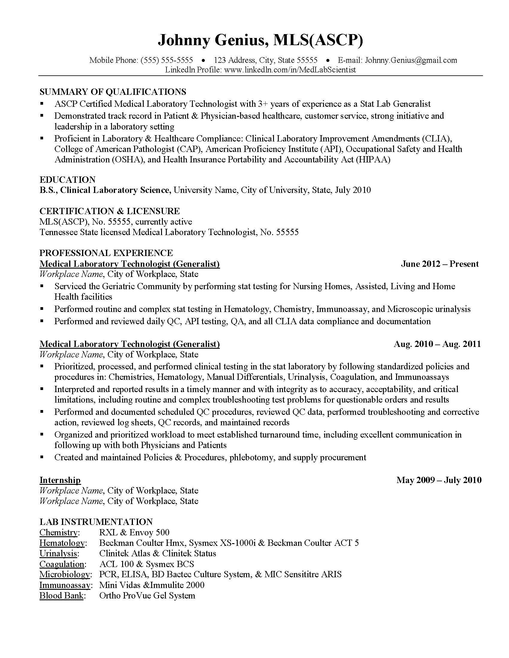 Tech Resume Examples Medical Laboratory Assistant Resume Template  Premium Resume