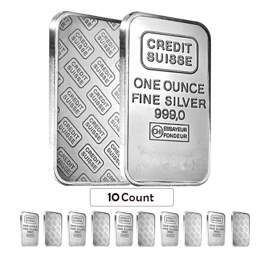 Sheet Of 10 1 Oz Credit Suisse Silver Bar 999 Fine Secondary Market Sealed Silver Bars Credit Suisse Silver