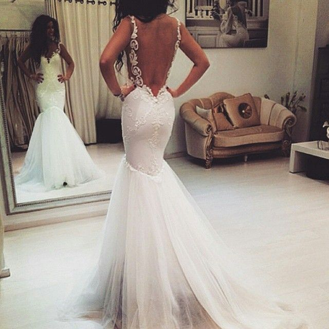 Y Spaghetti White Ivory Backless Mermaid Wedding Dresses Bridal Gowns Custom In Clothing Shoes Accessories Formal Occasion