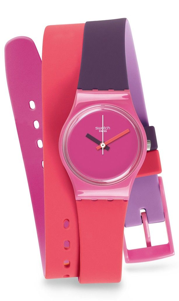 Swatch LP137 Swatch Watch Plastic case. Silicone strap. Pink dial. Swiss quartz movement. Water resistant 30 meters. Case 25mm.