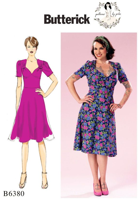 Fifties 50s dress Retro Gertie sewing pattern sleeves evening retro B6412