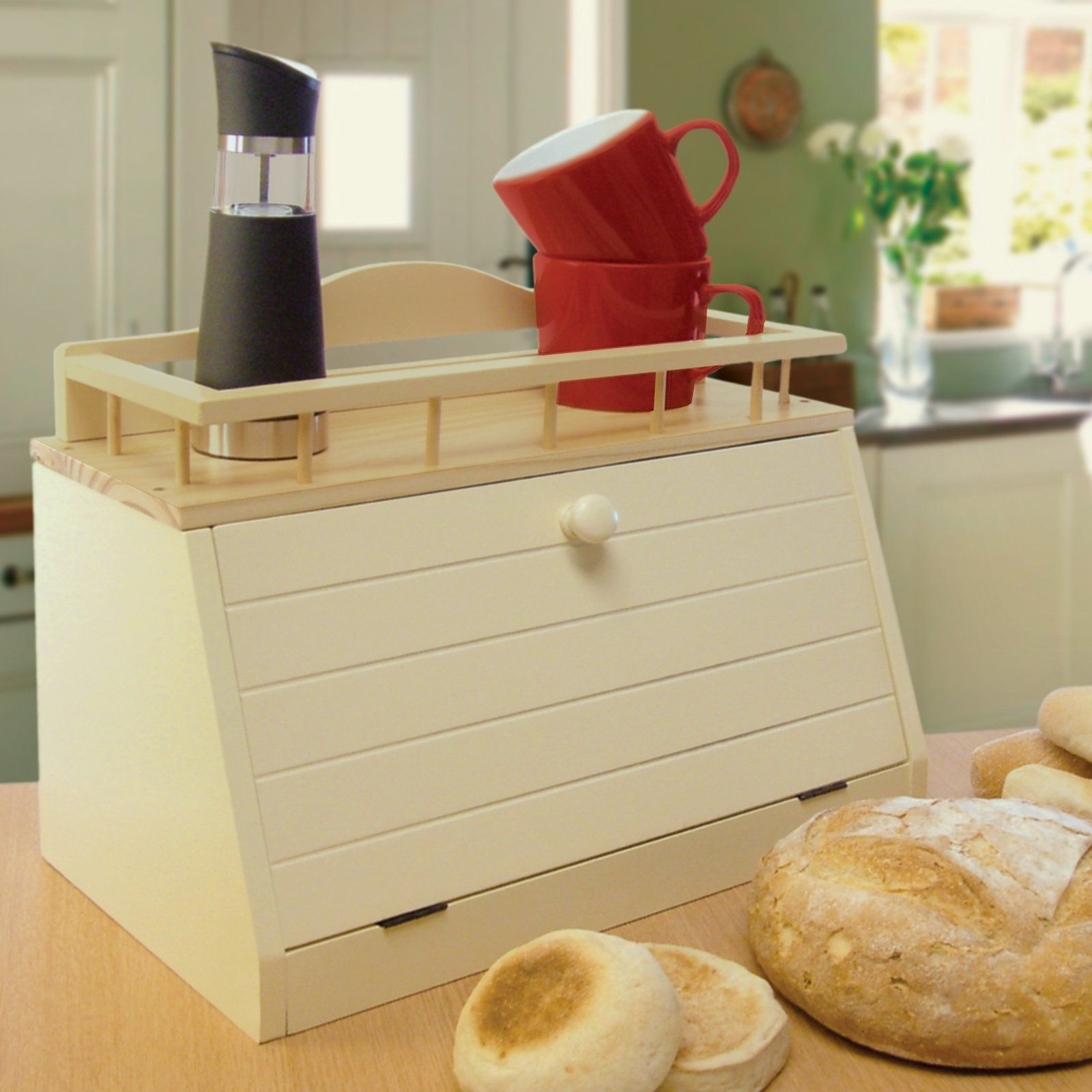 Great Ideas Wooden Bread Bin Wood Box With Front Opening Door And Top Shelf Co Uk Kitchen Home
