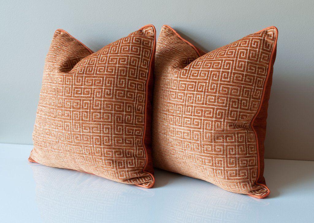 Greek key velvet throw pillow cover in burnt orange