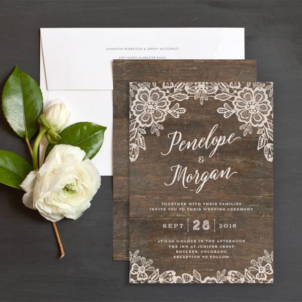 Woodgrain Lace Wedding Invitations By Jennie Hake