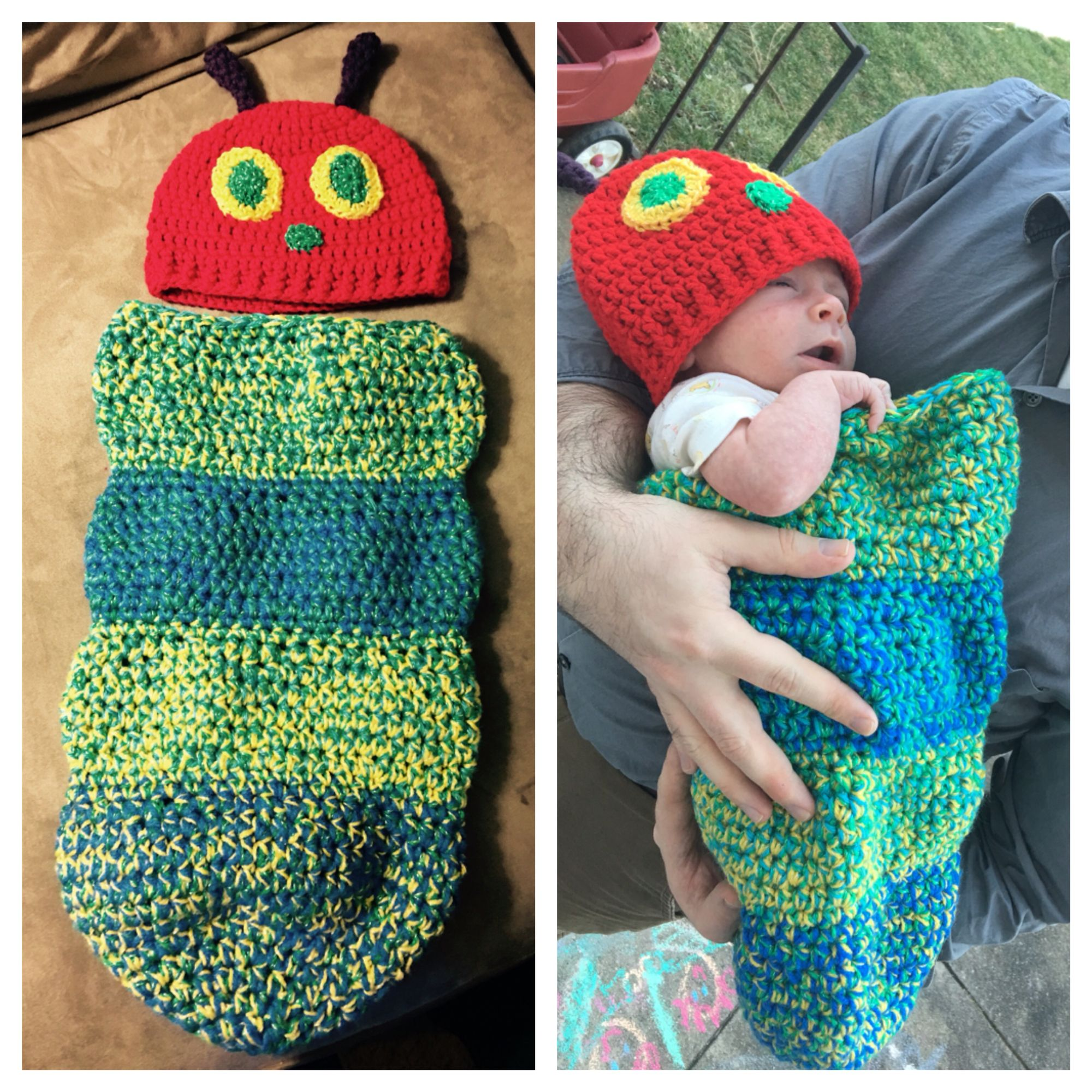 Very Hungry Caterpillar baby cocoon and hat set - crochet. I used a ...
