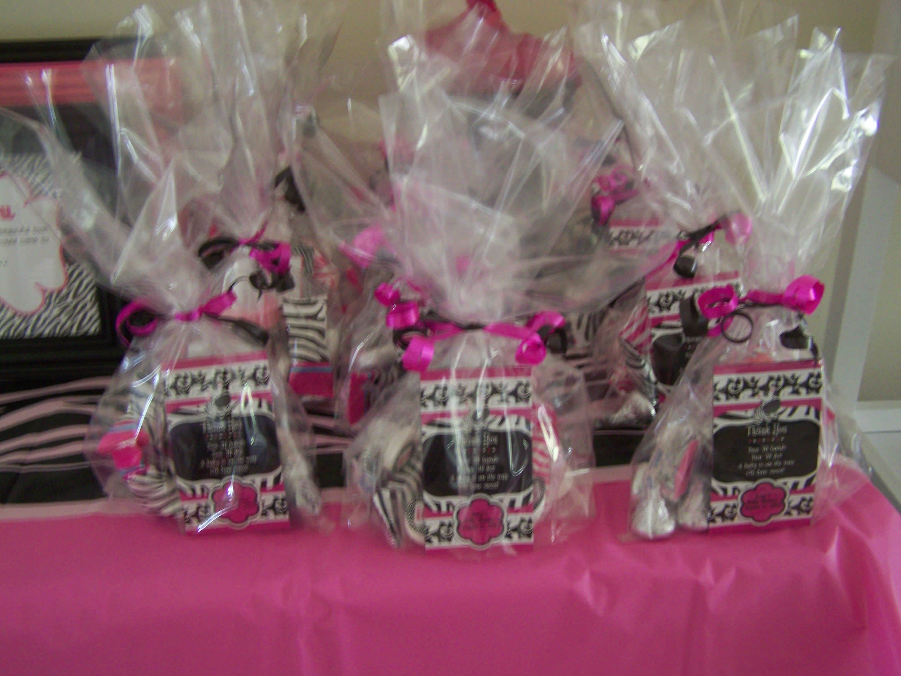 Zebra print party favors PINK CHEETHAZEBRA BABY SHOWER IDEAS