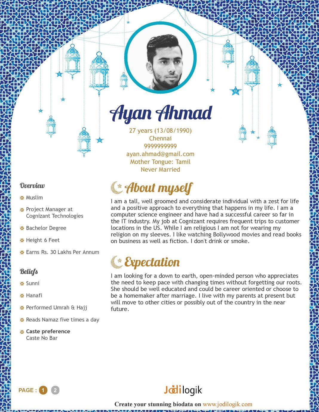 Marriage Resume Format For Girl Pdf Muslim Marriage Biodata Template Talib In 2019