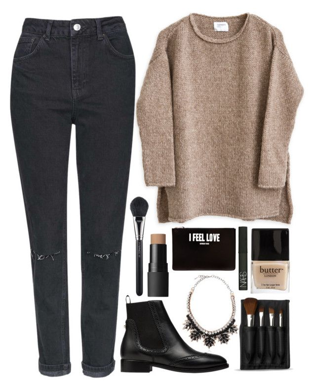 """""""Untitled #108"""" by veronika-m ❤ liked on Polyvore featuring Balenciaga, Topshop, The Body Shop, MAC Cosmetics, Valentino, Butter London, NARS Cosmetics and Givenchy"""