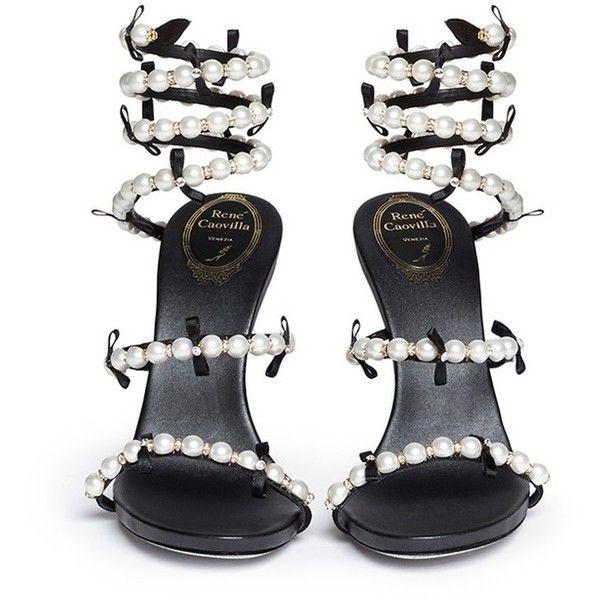 RENÉ CAOVILLA  Snake  strass pavé spring coil sandals (1 268ad4a7b