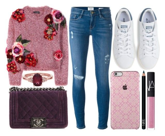 street style by sisaez on Polyvore featuring polyvore, fashion, style, Dolce&Gabbana, Frame Denim, adidas, Chanel, NARS Cosmetics and clothing