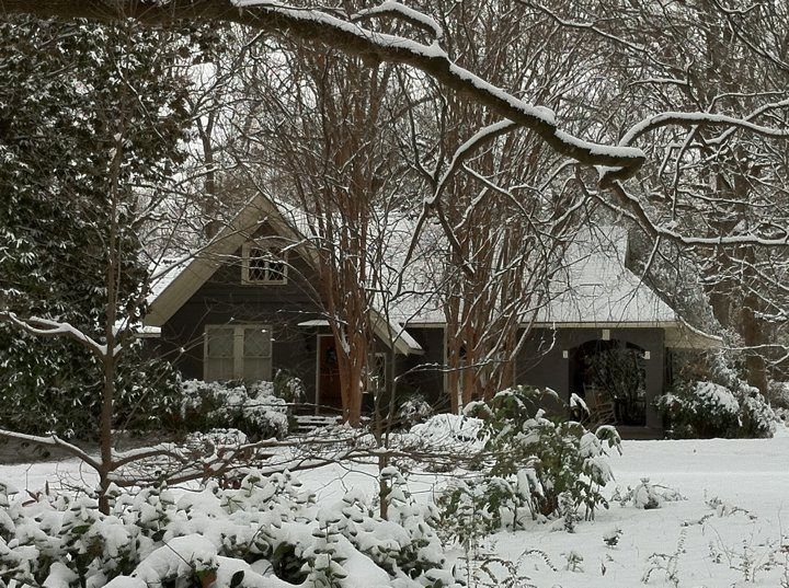 Snowy cottage in Collierville, Tennessee Taken by Melinda