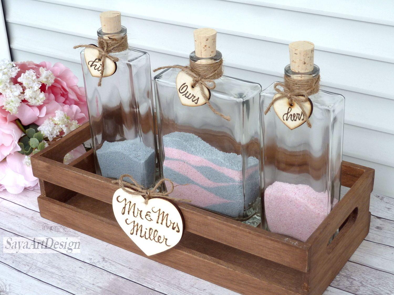 Wedding Sand Ceremony Rectangle Bottles Set Personalized Family