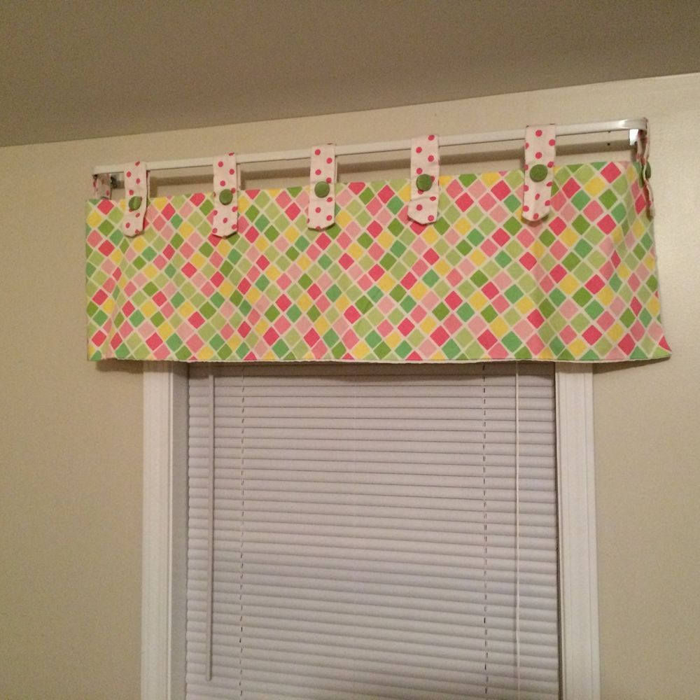 Window Curtain Valance Top Tab Pastel Pink Green White Check And Polka Dot  Lined #Circo