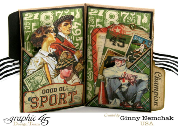 Awesome pages and dimension on the pages on this Good ol' Sport wallet album by Ginny! Amazing! Click to see tutorial #graphic45