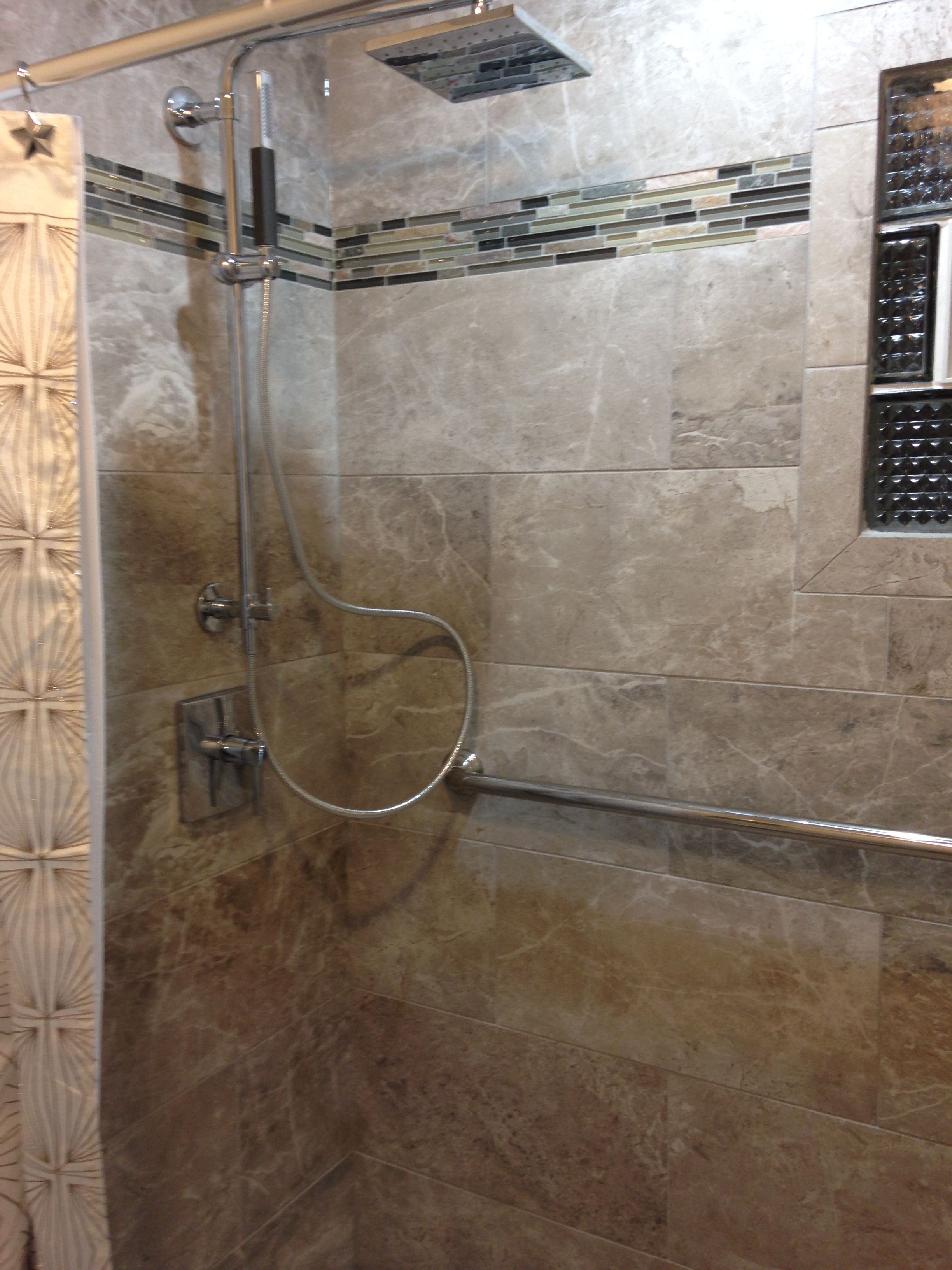 Bathroom Remodel Tile Is From Mid America In Emperor Porcelain Along With Mosaic Trim Kohler Shower System All One Handheld And Rain