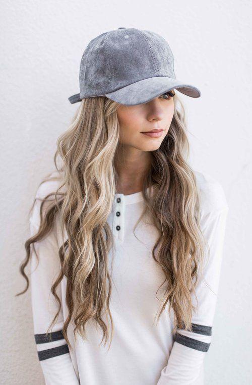Grey Suede Baseball Cap Style Long Hair Styles Fashion