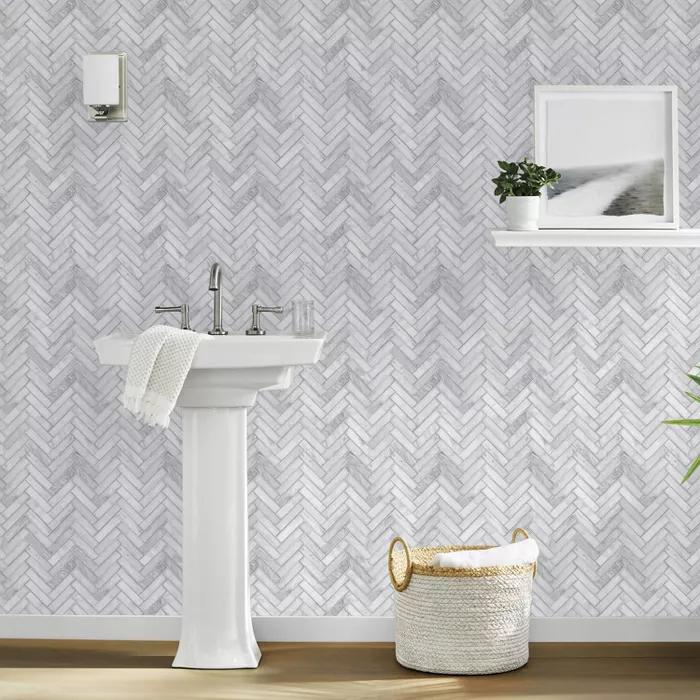 Marble Herringbone Tile Peel Stick Wallpaper Gray Threshold In 2021 Marble Herringbone Tile Herringbone Tile Herringbone Wood